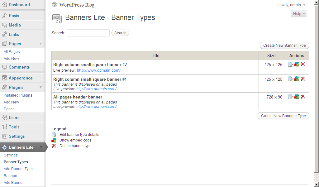 WP Banners Lite: Banner Types