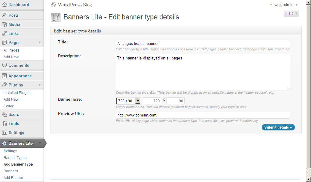 WP Banners Lite: Add New Banner Type