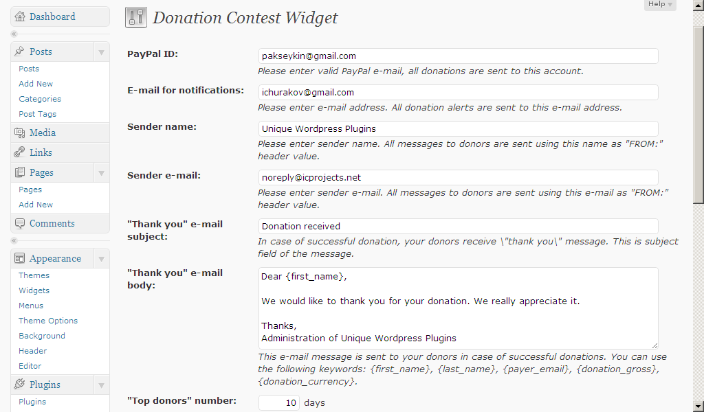Donation Contest Widget