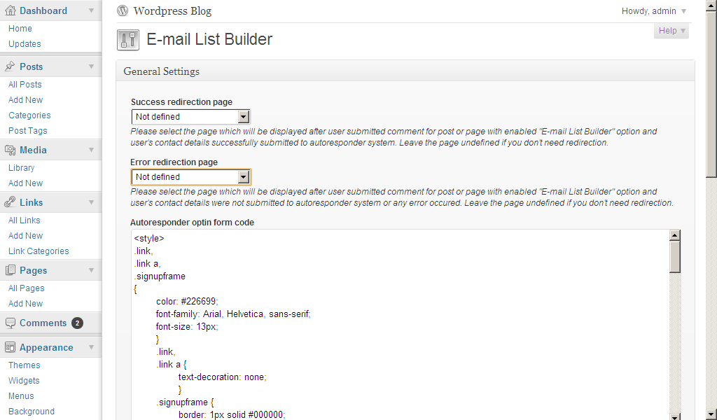 E-mail List Builder settings page