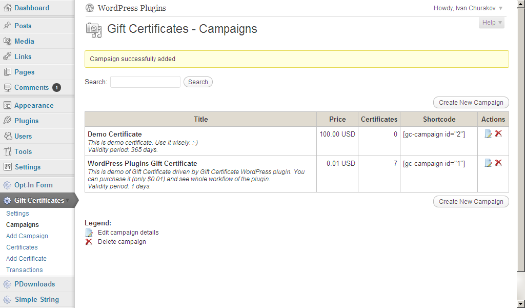 Gift Certificate: Campaigns