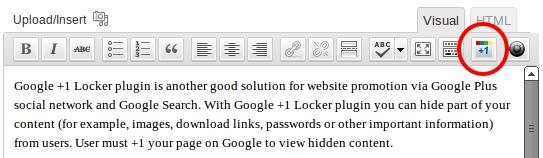 Google +1 Locker: WYSIWYG-editor button
