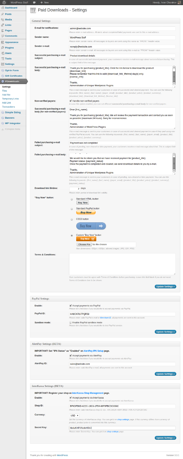 Paid Downloads plugin: Settings page